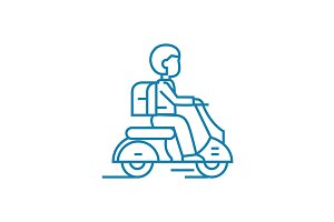 Working as a courier linear icon concept. Working as a courier line vector sign, symbol, illustration.