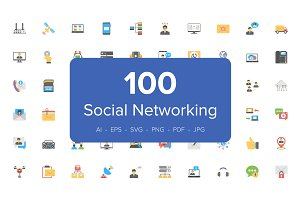 100 Social Networking Flat Icons