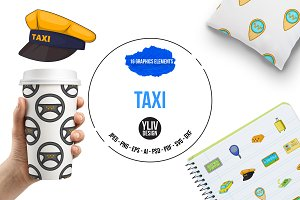 Taxi icons set, cartoon style