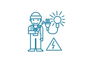 Working as an electrician linear icon concept. Working as an electrician line vector sign, symbol, illustration.