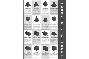 Geometric Figures in Black, Vector Illustration