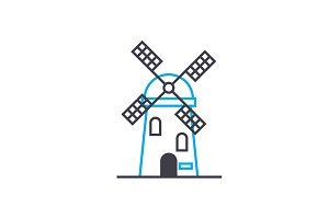 Working at the mill linear icon concept. Working at the mill line vector sign, symbol, illustration.