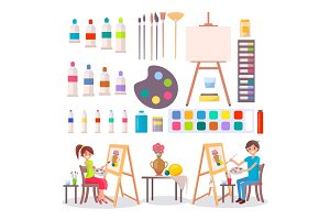 Art Supplies and Artists Isolated Illustration