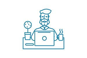 Working atmosphere linear icon concept. Working atmosphere line vector sign, symbol, illustration.