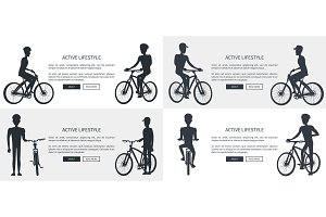 Active Lifestyle Set of Posters Depicting Cyclists