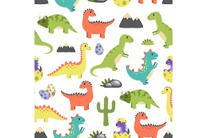 Dino Seamless Pattern Image Vector Illustration