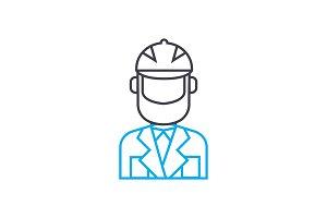 Working uniform linear icon concept. Working uniform line vector sign, symbol, illustration.