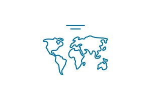 World map linear icon concept. World map line vector sign, symbol, illustration.