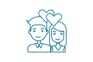 Young couple linear icon concept. Young couple line vector sign, symbol, illustration.