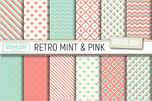 Seamless pattern retro mint and pink