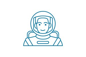 Astronaut linear icon concept. Astronaut line vector sign, symbol, illustration.