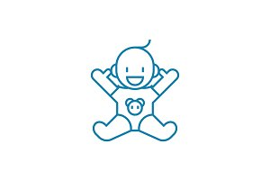 Baby linear icon concept. Baby line vector sign, symbol, illustration.