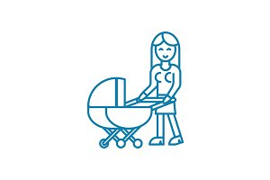 Baby care linear icon concept. Baby care line vector sign, symbol, illustration.