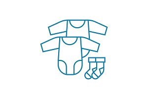 Baby clothes linear icon concept. Baby clothes line vector sign, symbol, illustration.