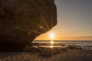 Sunrise on the beach of the dead