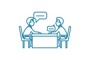 Business conversation linear icon concept. Business conversation line vector sign, symbol, illustration.