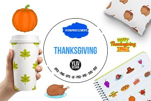 Thanksgiving icons set, cartoon