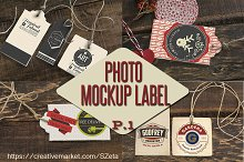 Photo tags-label mockup