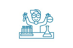 Chemical lab linear icon concept. Chemical lab line vector sign, symbol, illustration.