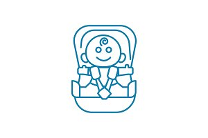 Child car seat linear icon concept. Child car seat line vector sign, symbol, illustration.
