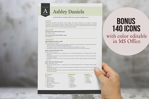 3 in 1 green modern banner resume
