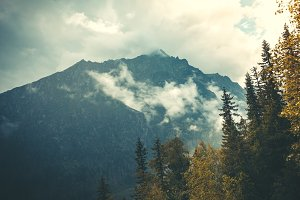 Mysterious landscape. Fog falling on the Tatras.