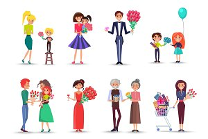 People with Bouquets and Gifts Celebrate Holiday