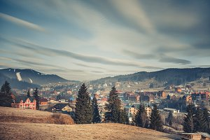 A village surrounded by the Carpathians. Ukraine.