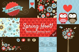 'Spring Hoot' Design Elements Pack