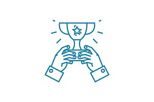 Common achievement linear icon concept. Common achievement line vector sign, symbol, illustration.