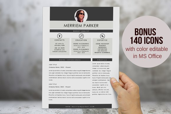 2 in 1 modern photo resume template