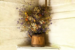 bouquet of dry wild flowers in a pot