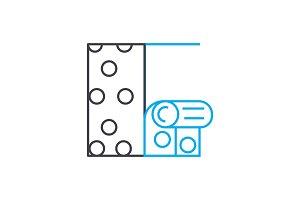 Hanging wallpaper linear icon concept. Hanging wallpaper line vector sign, symbol, illustration.