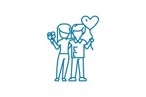 Happy couple linear icon concept. Happy couple line vector sign, symbol, illustration.