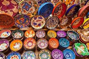 Colorful tiles in Grand Bazaar, Istanbul.