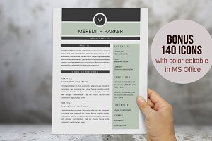 Elegant 3 in 1 Word resume 2 pages