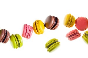 colorful traditional French sweets macaroons from almond flour i