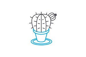 Indoor cactus linear icon concept. Indoor cactus line vector sign, symbol, illustration.