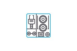 Industrial equipment linear icon concept. Industrial equipment line vector sign, symbol, illustration.