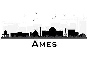 Ames Iowa skyline black and white
