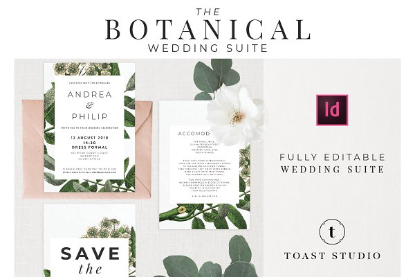 Stationery Templates: Toast Studio - BOTANICAL WEDDING SUITE