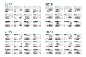 Calendar for 2017, 2018, 2019, 2020.