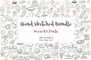 Hand sketched bundle Food & dessert