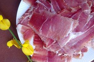 Spanish sliced ham on a dish