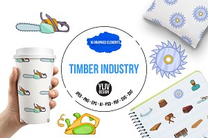 Timber industry icons set, cartoon s