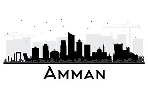 Amman Jordan City Skyline Black