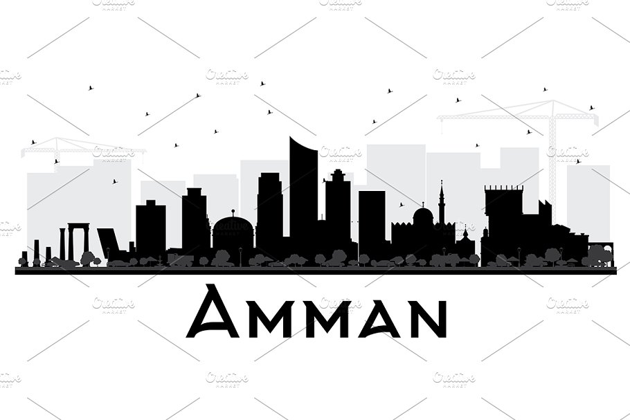 Amman Jordan City Skyline Black