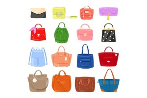 Woman bag vector girls handbag or purse and shopping-bag or clutch from fashion store illustration baggy set of shoppers bagged package isolated on background
