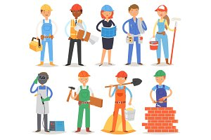 Builder vector constructor people character building construction for newbuild illustration set of worker or contractor woman or man buildup constructively isolated on white background
