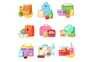 Lunch box vector school lunchbox with healthy food fruits or vegetables boxed in kids container in bag illustration set of packed meal in bagpack isolated on white background